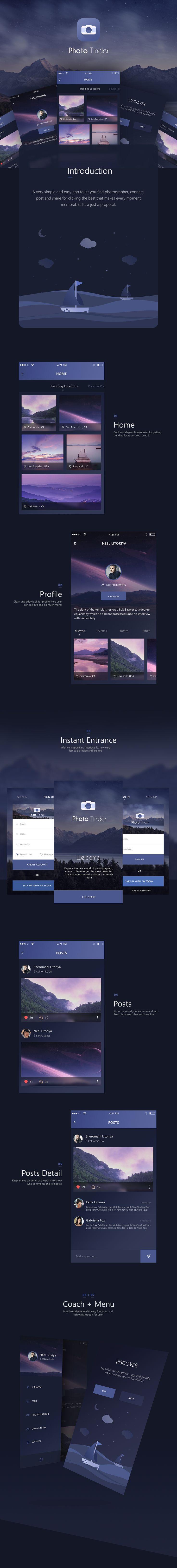 Photo Tinder app UI on Behance