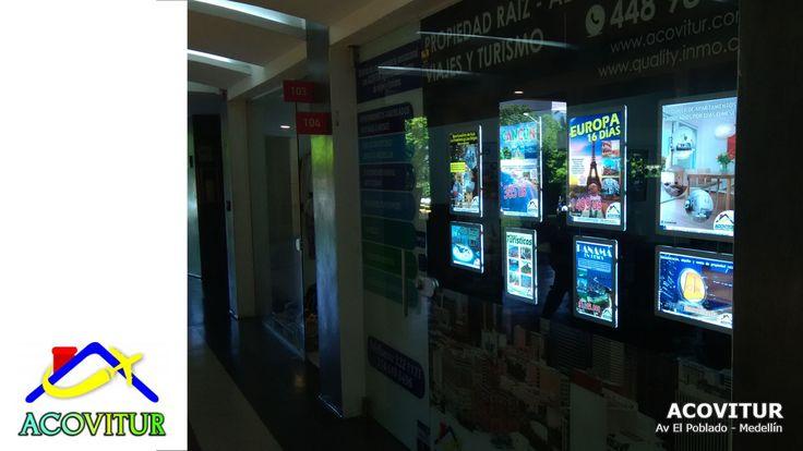ACOVITUR es la agencia de viaje quien ofrece planes turísticos como días de sol, planes románticos, viajes en el departamento de Antioquia en hoteles, hosterías y fincas cerca de Medellin. Para competir con el internet y tener una oficina más atractiva, Acovitur eligió los nuevos avisos luminosos LED para vitrinas. Esa nueva caja de luz del siglo 21 www.NegoLuz.co es muy llamativa y innovadora para una publicidad POP y una comunicación creativa.