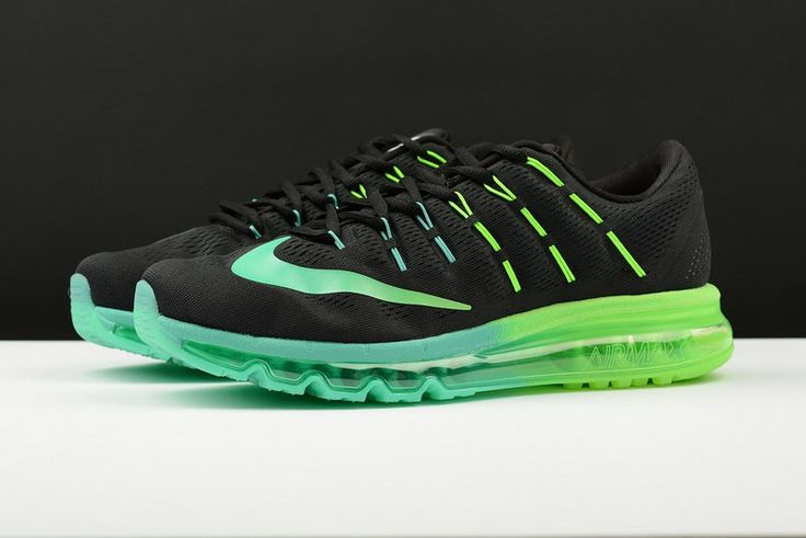Nike Air Max 2016 Men Mesh 3M Black Green Shoes