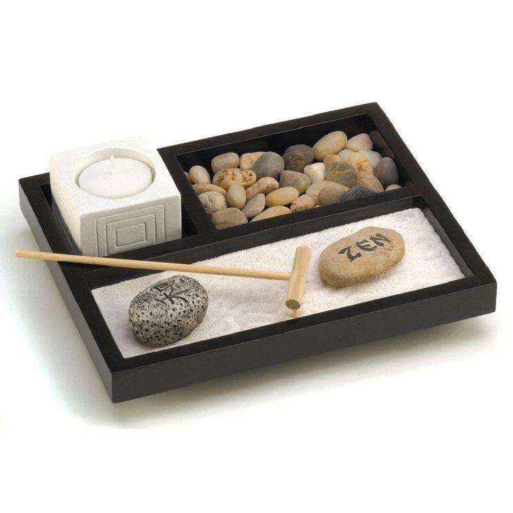 Tabletop Zen Sand Rocks Candle Holder Rake Garden Kit. Connect to your zen.