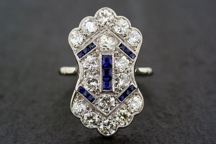 Art Deco Antique Engagement Ring - 1920s Sapphire