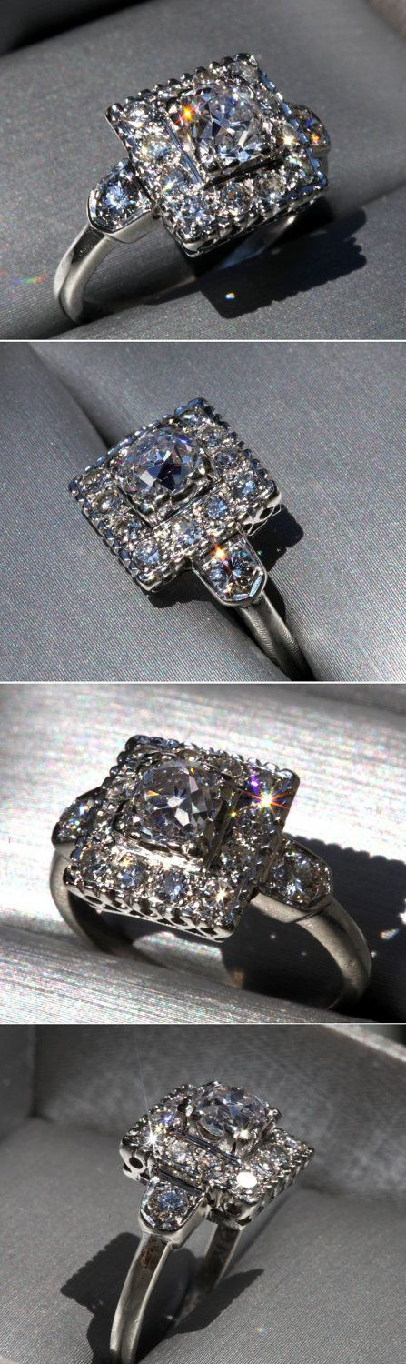 OLD as The HILLS - Antique - Cushion Cut - Old Mine Cut - Diamond Engagement ring - Art Deco - Halo - 1800s