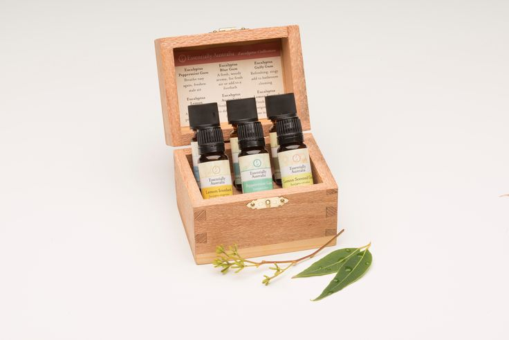 Eucalyptus Collection Gift Box, includes Peppermint Gum, Eucalyptus - Lemon Ironbark, Lemon Ironbark, Eucalyptus - Lemon Scented Gum, Eucalyptus - Blue Gum, Eucalyptus - Gully Gum & Eucalyptus Australiana all in 12ml bottles.