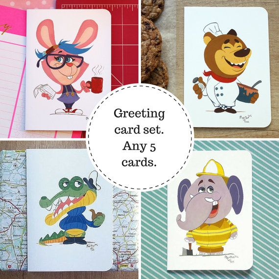 Blank greeting card set by #TerrapinAndToad. Pick any 5 of our fun, brightly coloured cartoon greeting cards to make your own set.