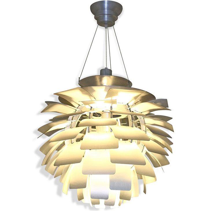 Lexmod artichoke style chandelier modern lamp in silver