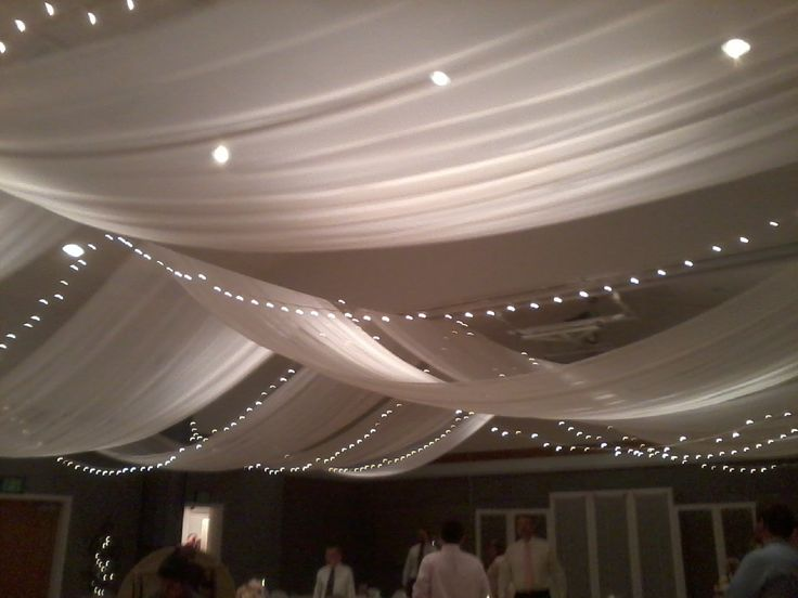 tulle wedding ceiling | Fabric, lights, colored tulle or organza and paper lanterns can all be ...