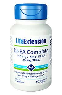 DHEA COMPLETE - Life Extension 7-Keto DHEA (100mg), DHEA (25mg) and Antioxidants 60 Vegetarian Caps - Reducing cortisol production
