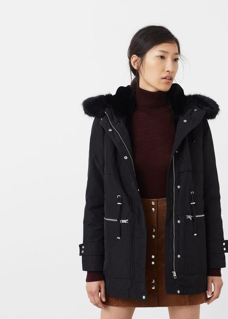 Anorak à capuche fourrure - Manteau pour Femme | MANGO France