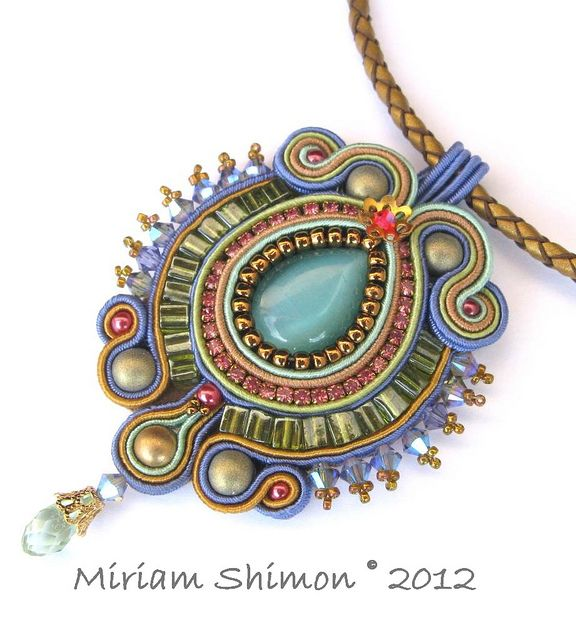 Blue and Green Soutache pendant by Cielo Design, via Flickr