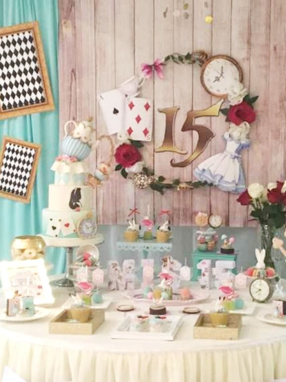 This Alice In Wonderland Quinceanera Theme Takes The Cake A Tea Party Is A Wonderful Theme A In 2020 Girls Birthday Party Themes Quinceanera Themes Tea Party Birthday
