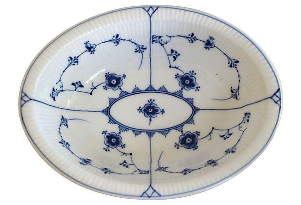 Blue Fluted Plain - Serving Bowl