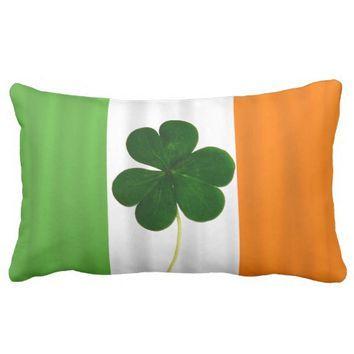 Republic of Ireland Flag Pillow w/ Shamrock