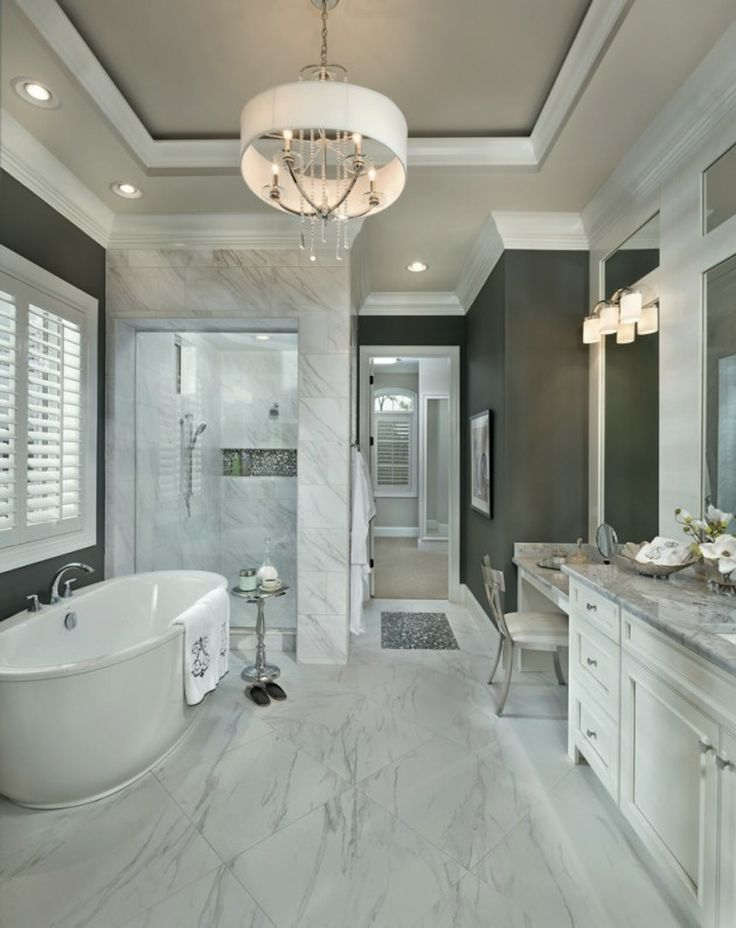 Beautiful Transitional Classical Bathroom - 10 Stunning Transitional Bathroom Design Ideas to Inspire You ➤To see more Luxury Bathroom ideas visit us at www.luxurybathrooms.eu #luxurybathrooms #homedecorideas #bathroomideas @BathroomsLuxury
