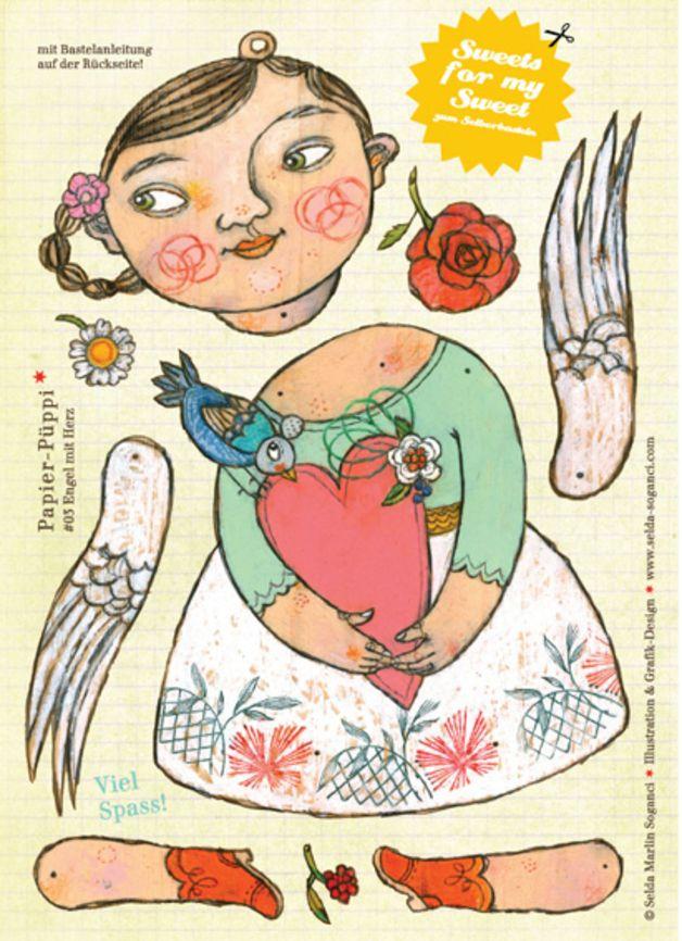 """Weihnachten - Bastelbogen A4 """"Engel mit Herz"""" - ein Designerstück von selda bei DaWanda"""