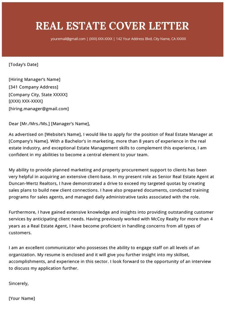 Real Estate Agent Realtor Cover Letter Example Template 2019