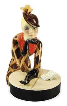 'AL CAFFE' A LENCI CERAMIC FIGURAL BOX BY HELEN KÖNIG SCAVINI 1931