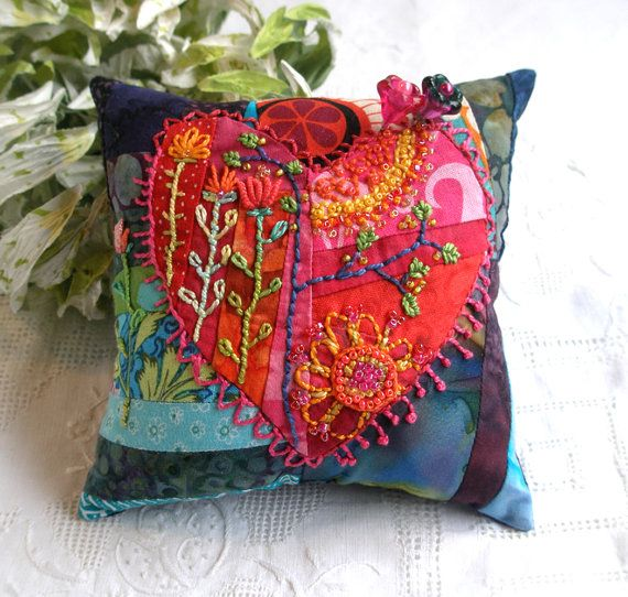 Pincushion, Hearts and Flowers Pincushion in Batiks