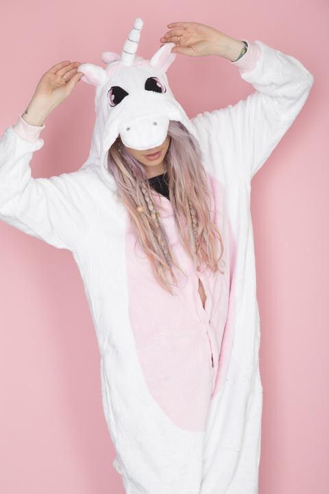 """Pink Unicorn Onesie.""                                HAHA Here: ahahahahaha LOL This picture is just too funny to not be saved! It's unicorn season, I guess. LOL, I've no idea why but lately, I'm seeing lots of unicorns online. LOL LOL LOL By the way, I won't be wearing this pyjama. no offence. But it's a funny picture."