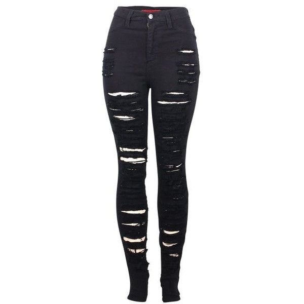 2LUV Women's High Waisted Distressed Skinny Jeans Black1 7 (PS3030) (145 PLN) ❤ liked on Polyvore
