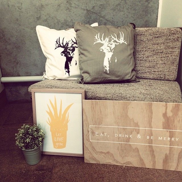 """Silkscreen is an amazing technique and art form that enables you to print onto many different surfaces and textures. Enquire with us should you have anything in mind :) info@peepdesigns.com#silkscreen #pillows #homeinterior #printing #printonwood #prints #deer #plant #events #invites #weddings"""