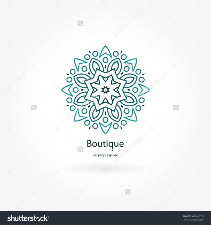 Gentle Blue Beautiful Circular Logo For Boutique, Flower Shop, Business, Interior. Company Mark, Emblem, Element. Simple Geometric Mandala Logotype. Kaleidoscope Big Bud. Surround Abstract Blossom. Banco de ilustração vetorial 401046379 : Shutterstock