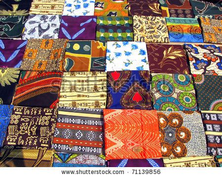stock photo : Colorful fabrics sold at the street market in Maputo, Mozambique