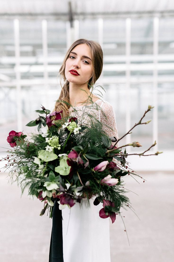 Bridal Bouquet with Magnolia and Helleborus // Urban Wedding Inspiration // Rime Arodaky Dress // Event Design & Styling and Floral Design