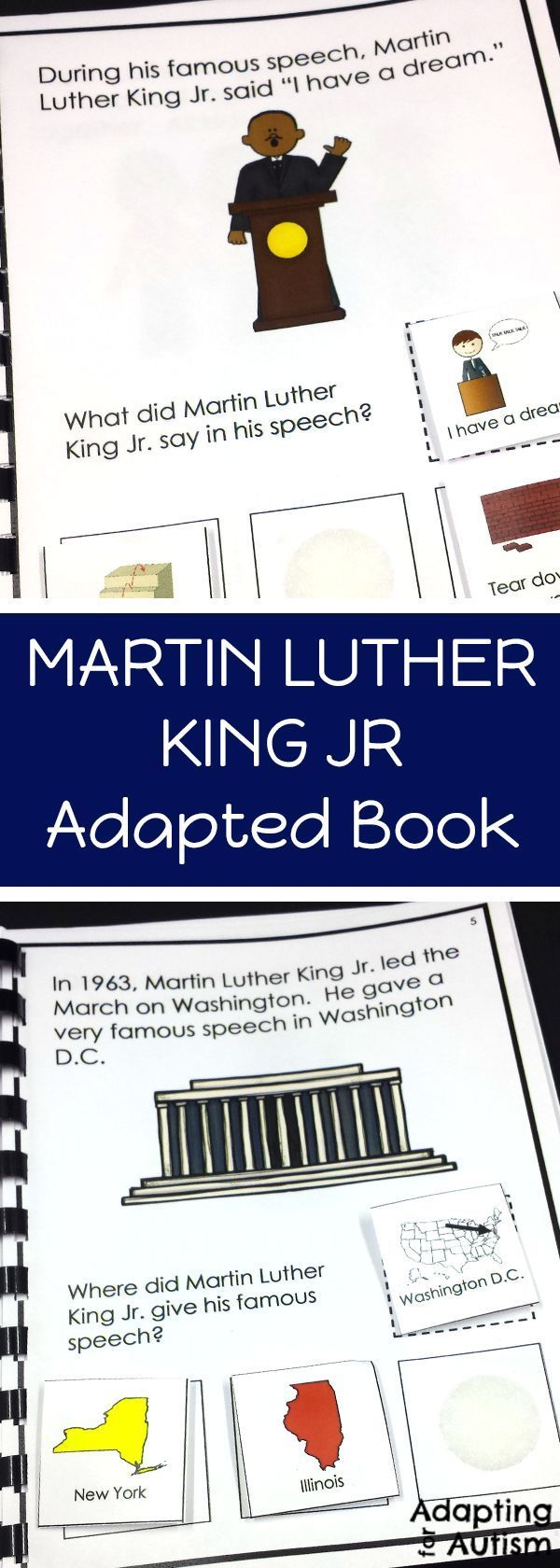 Martin Luther King Jr. adapted book. Perfect for special education and speech therapy to work on reading comprehension and answering WH questions during Black History Month. Includes differentiated worksheets to add a writing component.