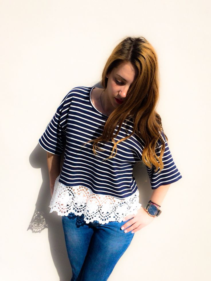 Navy style #lace #stripes #dressingtales Shop online: www.dressingtales.gr
