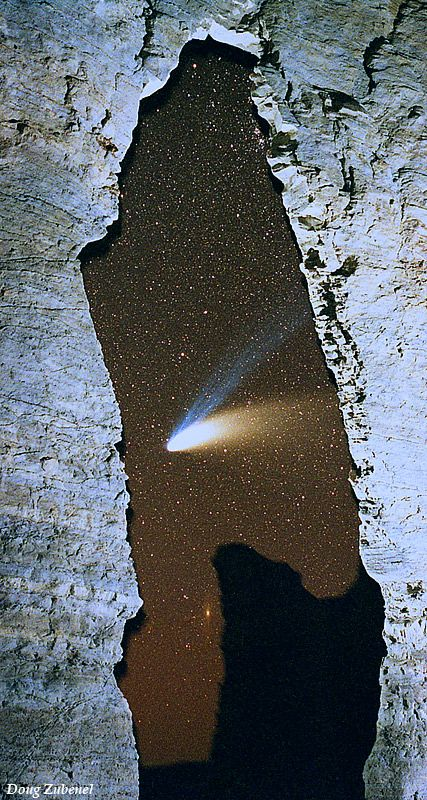 Hale-Bopp #Comet seen through the Keyhole Arch at Monument Rocks Natural Landmark, Kansas, USA.