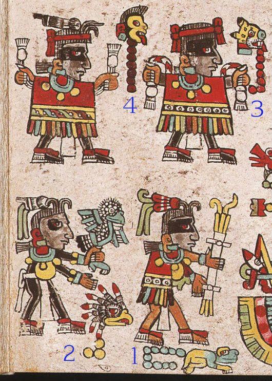1. El señor 10 Lagartija le llevó un atado de ramas para el fuego, 2. el señor 3 Águila le ofrendó una codorniz, 3. el señor 7 Jaguar y 4. el señor 7 Mono le dieron vestimentas rojas bellamente decoradas.