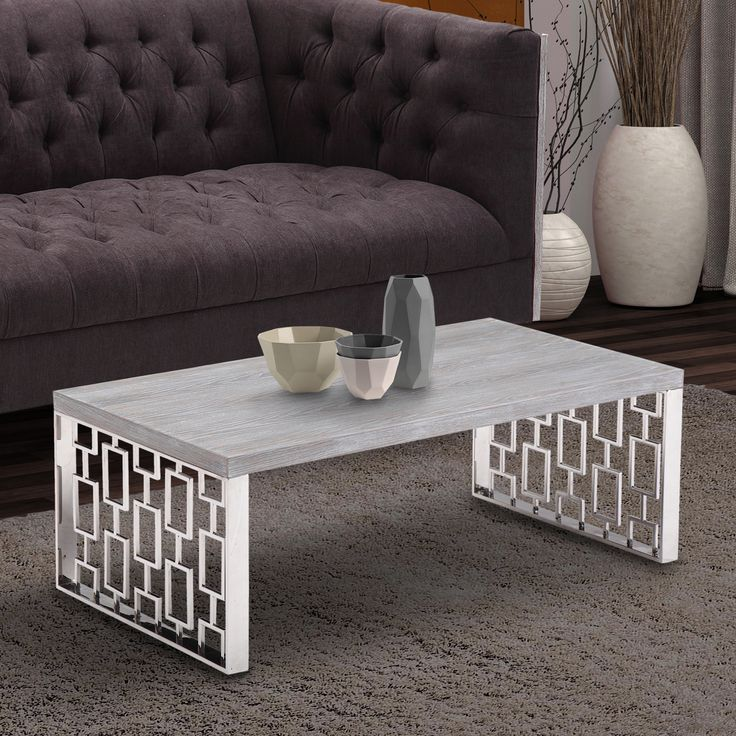 Armen Living Skyline Grey Wash Wood Coffee Table In Brushed Steel Finish By