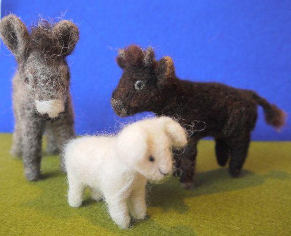Set of needle felted animals nativity. felt nativity by Artywool