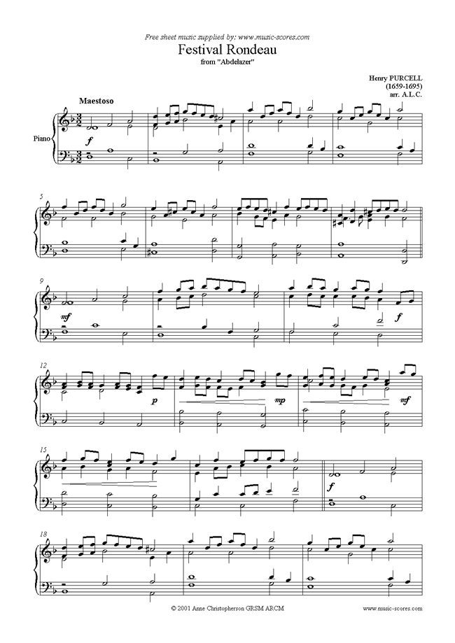 abdelazer: festival rondeau sheet music by henry purcell: piano   sheet  music, music love, music score  pinterest