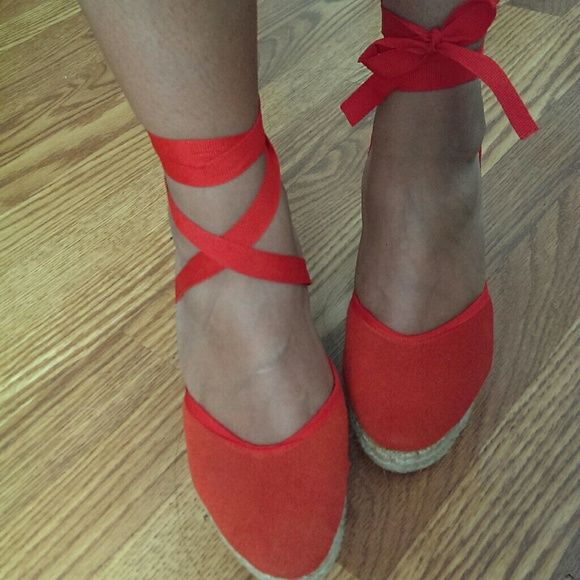 Espadrille wedge Really cute espadrille wedge. Closed toe, can tie several ways around the ankle. Red-orange color Colin Stuart Shoes Espadrilles