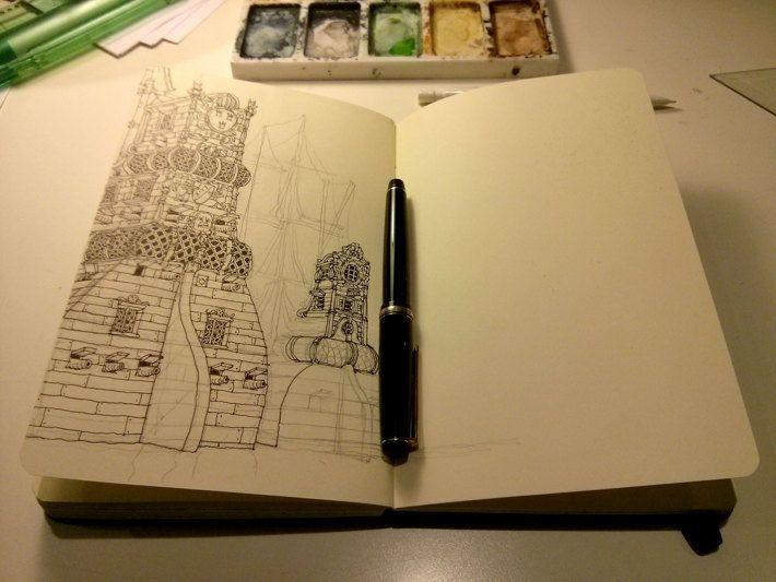 Sketchbooks by Mattias Adolfsson, via Behance