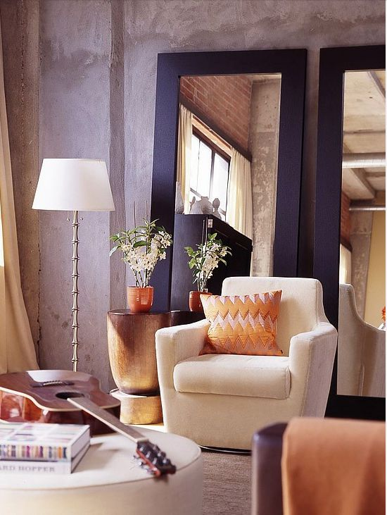 Love full length mirrors in a room instead of art work>>make small rooms appear larger and darker rooms brighter