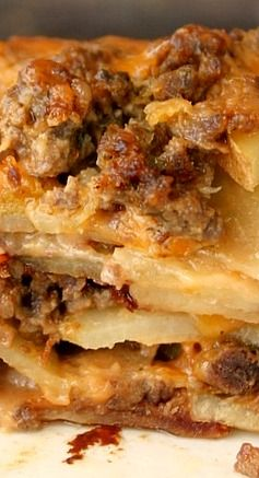 Meat and Potato Casserole with Mushrooms and Cheddar Cheese