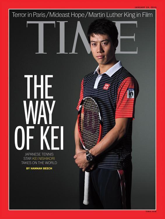 Kei Nishikori on January 2015's cover of Time Magazine with Wilson Racket