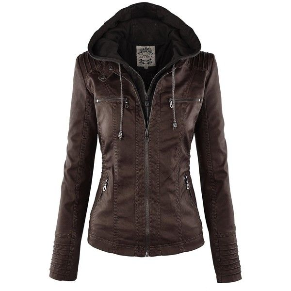 LL WJC663 Womens Removable Hoodie Motorcyle Jacket S BLACK at Amazon... ($16) ❤ liked on Polyvore featuring outerwear and coats