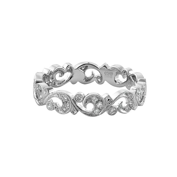 18-carat white gold fine filigree style ring with round brilliant cut diamonds. www.kellerwood.com