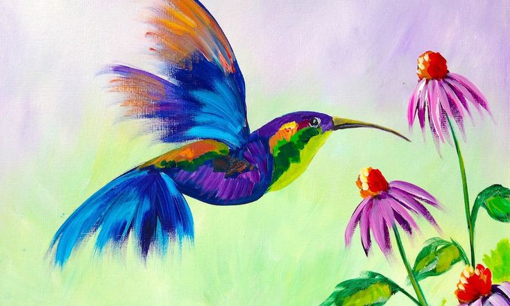 Beginner learn to paint a hummingbird and flower art for Learn to paint with acrylics