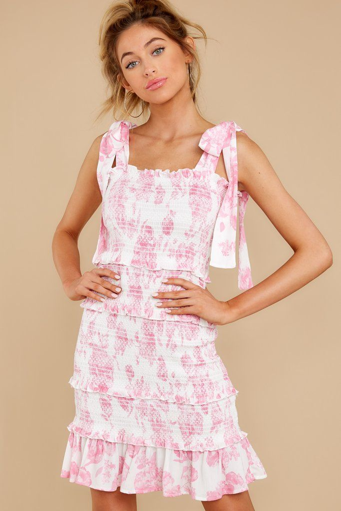 Buddy Love Pink Dress Print Smocked Mini Dress Dresses 108 00 Dresses Pink Print Dress Red Dress Boutique