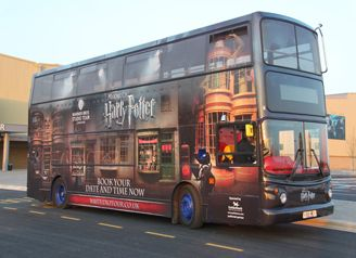 Golden Tours ticket includes entrance to Warner Bros. Studio Tour London and return transportation on this Harry Potter bus