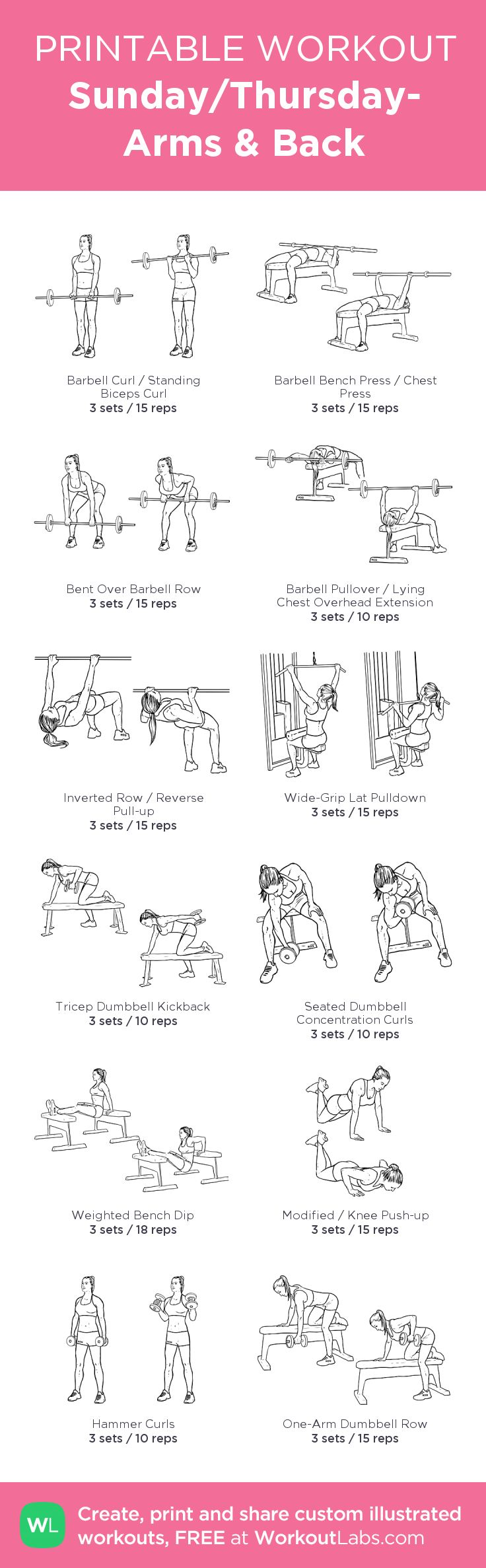 ARMS WORKOUT created at WorkoutLabs.com • Click through to customize and download as a FREE PDF! #customworkout