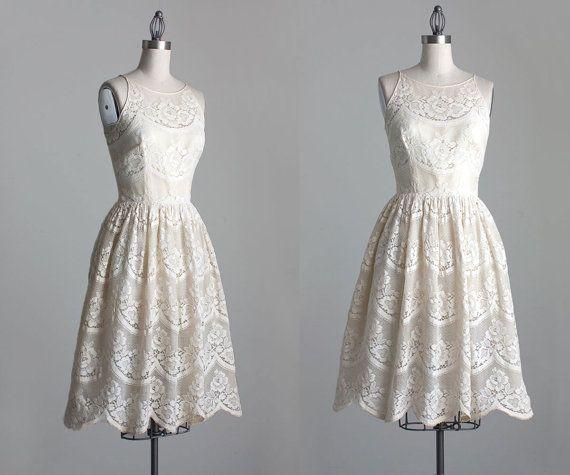 Cream Lace Dress 1960s Vintage Junior Sophisticates Cream Lace ...