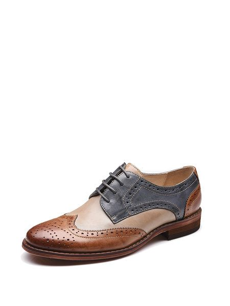Shop Oxfords - Brown Spring/Fall Leather Lace-up Low Heel Casual Oxford online. Discover unique designers fashion at StyleWe.com.