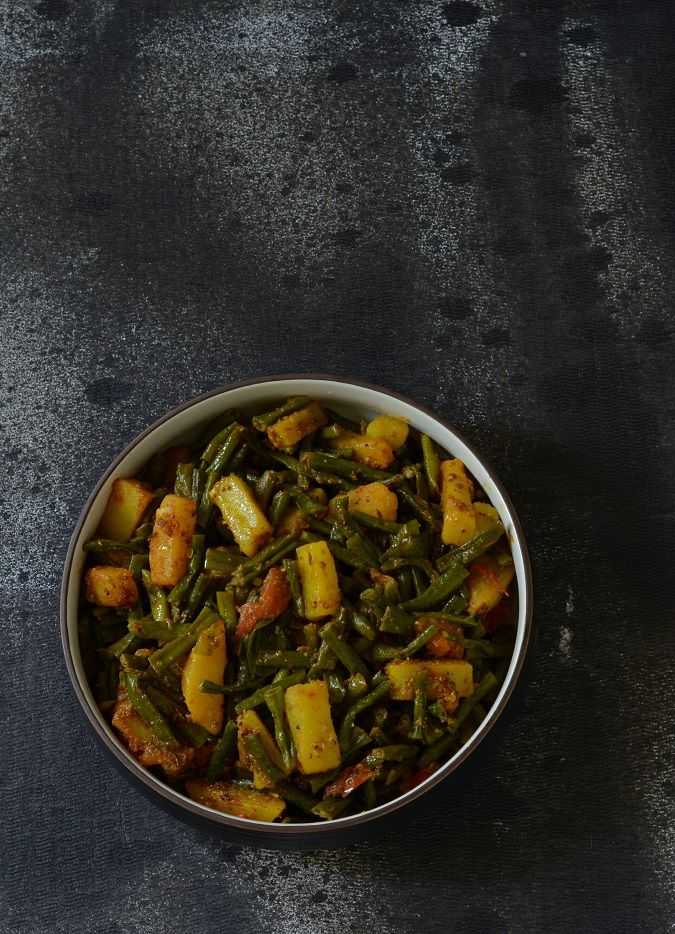 Lobhia Phali Aloo Sabzi,Long Beans Potato Curry