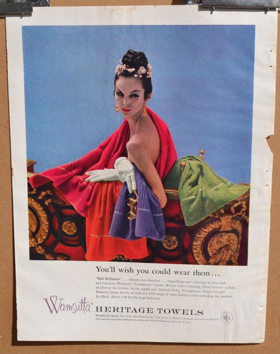 1950s Wamsutta Towel Bathroom Decor Ad 10 x 13 by TannaGail