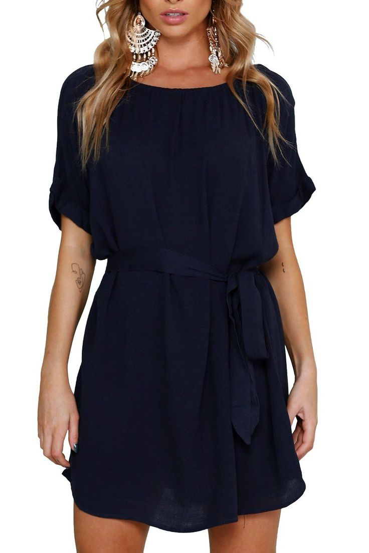 Navy Blue Casual Chic Short Chiffon Dress